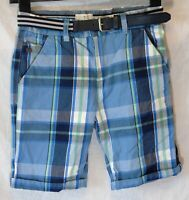 Boys Jasper Conran Blue Green Check Belted Waist Cotton Shorts Age 10 Years
