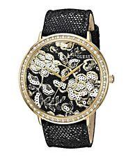 Guess Ladies Black Leather Strap Watch - U0820L1