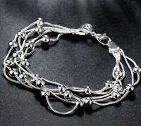 """ITALIAN 18K WHITE GOLD Plated Bracelet 7.8"""" L21 BUBBLE BEADS BRACELET"""
