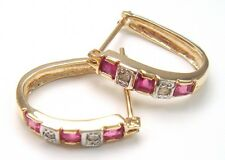 SYJEWELLERY 9CT YELLOW GOLD SQUARE NATURAL RUBY & DIAMOND HOOP EARRINGS  E928
