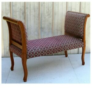 Vintage Rolled Arm Carved Wood Bench Upholstered Cushion Seat Bed End