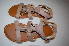 5722e9aed06 Womens TAUPE   TAN COLOR STRAPPY FRINGED SANDALS Embroid. w  Silver Studs  SIZE 7