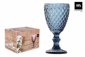 6X SIDARI BLUE Vintage RED WINE GLASSES 350ml beautiful gift box