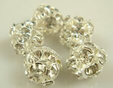 5pcs Silver Spacer Rhinestone Spacer Bead Decorative Accessories 8mm wSsas1