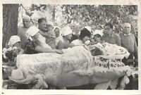 Vintage photo kids on funeral old women open coffin post mortem Russian