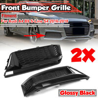 Noir Brillant Inférieur Brouillard Feu Grille Cadre pour Audi S4 A4 S-LINE B9
