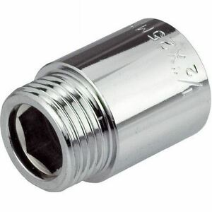 """1/2"""" BSP (15mm) Pipe Extension Female x Male Chrome Plated Brass 10-100mm Long"""