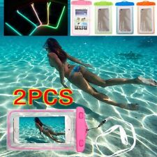 2X Waterproof Bag Pouch Underwater Glowing Cover Smartphone iPhone Galaxy Phone