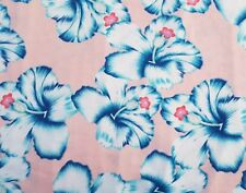 Pink/Blue HIBISCUS JERSEY Fabric floral tropical hawaiian stretch flowers 1m