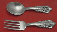 """Grande Baroque by Wallace Sterling Silver Baby Set 2-Piece 4 1/8"""" Child Flatware"""