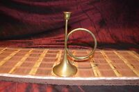 "Vintage Solid Brass CandleStick Holder Horn 9""x4 1/2"""