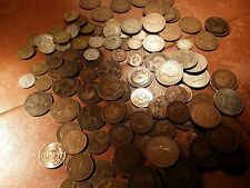English Coins Crown to Farthings sixpences pennies 50 coins