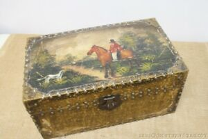 Vintage Chest Foxhound Hunting Scene Red Coat Rider Horse Dog Lacquer Interior