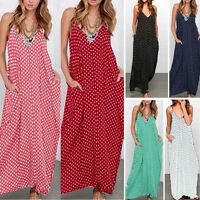 PLUS SIZE Summer Women Hippie Long Maxi Polka Dots Loose Beach Sundress Dress