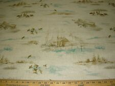 "~4 7/8 YDS~REGAL""DUCKS COUNTRY COTTAGE"" ~WOVEN LINEN UPHOLSTERY FABRIC FOR LESS~"