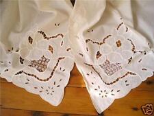 Elegant Ribbon Cutwork Hemstitch Curtains Tiebacks Set