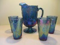 Vintage Indiana HARVEST GRAPE Blue Carnival Glass 5 piece Pitcher & Tumbler Set
