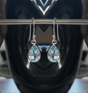 315f Blue Topaz Solid 925 Sterling Silver Faceted Pear Gemstone Earrings rrp$48