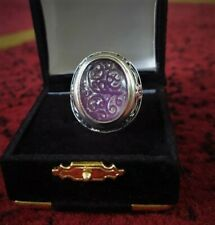 Carved Lavender Purple Jade Large Chunky Sterling Silver 925 Oval Ring size 8