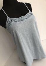 ANN TAYLOR String Tank Crochet Blue Cotton Summer Top Small EUC