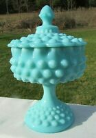 """VINTAGE FENTON TURQUOISE HOBNAIL FOOTED COVERED COMPORT 8.5""""H MINT 1955-58"""