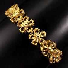 Sterling Silver 925 Gold Coated Natural Golden Citrine Bracelet 7 - 81/4 Inch