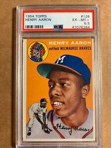 1954 TOPPS HANK AARON ROOKIE CARD NO:128 PSA 6.5 EXMINT PLUS CONDITION