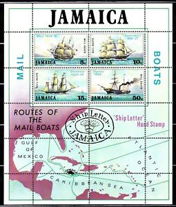 JAMAICA #379-382a MNH 19th CENTURY MAILBOATS SOUVENIR SHEET
