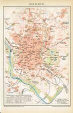 Stadtplan von MADRID 1894 Original-Graphik