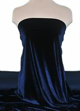 """VELVET STRETCH FABRIC NAVY 58"""" BY THE YARD FORMAL WEAR, PAGEANT WEAR, DECOR"""