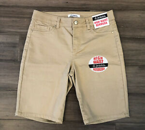 D. JEANS Women's Beige Cotton Blend High Waist Bermuda Shorts-Size 6