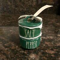 New Rae Dunn SALT & PEPPER Cellar Stacker Canister Green Christmas Holiday 2019