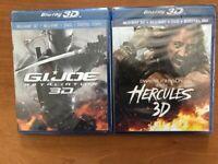 Hercules/ J.I.JOE 3D Blu-Ray 3D+DVD+Digital HD two Movie set -New