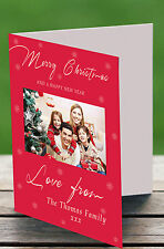 Personalised Christmas Cards Photo Snowflake Greeting x12 A6 Blank Inside