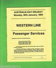 #T39. NSW RAILWAY TIMETABLE, WESTERN LINE, 1984 AUSTRALIA DAY