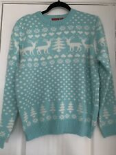 Avenue Womens Turquoise Christmas Jumper Size 12-14 Medium