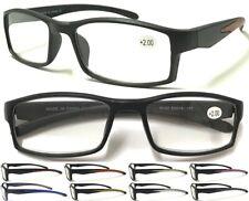 L152 Matte Black Quality Sport Style Curve Designed Reading Glasses Colored Arms