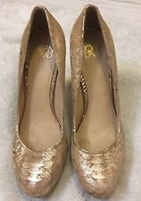 Joan & David Gold Floral Pattern High Heeled Pumps, Size 8.5, Very High Heeled!
