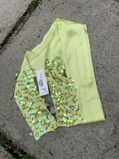 New ECHO 100% Silk SCARF Shiny Lime Green with iridescent Sequins Skinny Scarf