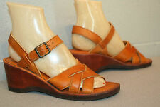 8.5 TRUE VINTAGE 70s NOS WEDGE HEEL SANDAL BROWN WOVEN LEATHER  HIPPIE BOHO SHOE