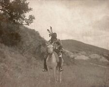 "1907- Native American Indian, Sioux, Horse, Antique, Western, 14""x11"" Photo"