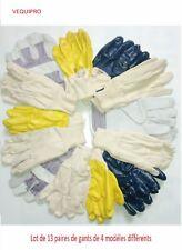 Lot de gants de travail et bricolage 13 paires de gants de 4 modèles différents