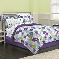 NEW Graphic Daisy Floral Purple Bed in a Bag Comforter Bedskirt Set Twin/Twin XL