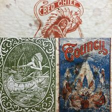 c1885 Native American Indian Red Chief Parlor vTg Playing Cards Antique Game