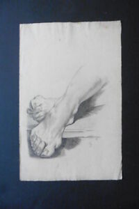 GERMAN SCHOOL 19thC - FINE STUDY OF FEET MONOGR. GUGEL - CHARCOAL DRAWING