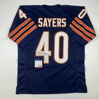 Autographed/Signed GALE SAYERS Chicago Blue Football Jersey PSA/DNA COA Auto