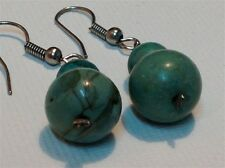Antique Chinese silver sterling pair of earrings set with Turquoise  (m1017)