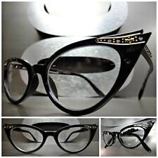 New CLASSIC VINTAGE 60s CAT EYE Style Clear Lens EYE GLASSES Black Fashion Frame