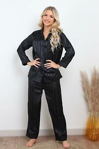 New Womens Stripe Print Button Up Ladies Satin Pyjamas Set Loungewear Size 6-16