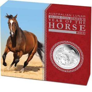 Lunar II Pferd Horse PROOF Box COA  2014 polierte Platte BOX PP 0,5Oz halbe Unze